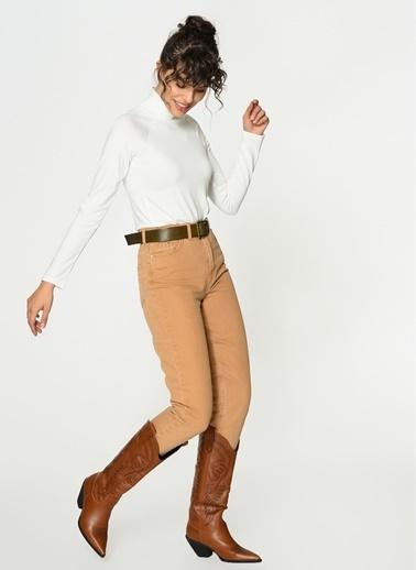 Loves You Yüksek Bel Mom Jean Pantolon Camel